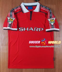 Retro Manchester futbol formaları 1999 2000 Keane Scholes Birleşik Soccer formaları Ev 1998 99 00 Giggs FUTBOL GÖMLEK boyut S-2XL BECKHAM kırmızı