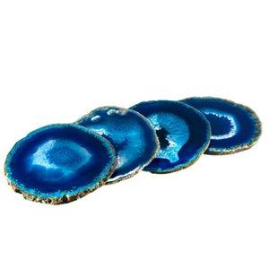 Ev Dekorasyon Hediyesi için Coasters Seti Cilalı Ücretsiz Kargo 1PC Rastgele Öğe Mavi Akik Dilim Çay Kupası Mat Geode Bar İçecek