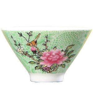 Flower Ceramic Tea Cup pintada à mão Cerimônia Escritório Mestre Pequeno Copa Verde Amarelo Azul Rosa Chá Vermelho Teaware Copos Bowls