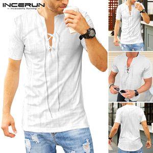 INCERUN Summer Men Fashion Streetwear T-shirt V Neck Solid Short Sleep Cotton Slim Lace Up Tunic Shirts Masculina Casual Camisa