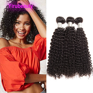 Peruvian Human Hair Extensions Kinky Curly 10 Bundles Natural Color 10 Pieces set Wholesale Curly Double Hair Wefts Yirubeauty Dyeable Hair