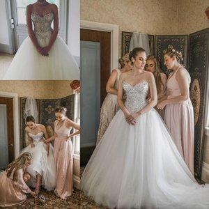 Vintage mariage Dresse pour Brides 2020 Plus Size A-ligne Sweet-coeur Robe de mariée Robes de mariée Perles cristaux lacent Retour Tulle Boho