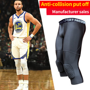 Men's Basketball Padded Tights Pants with Knee Pads for Men 3/4  Compression Tights Leggings Girdle Training