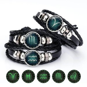 Luminous 12 Zodiac Sign Bracelet For Women Men Glow in The Dark Constellations Charm Leather Rope Chains Bangle DIY Fashion Jewelry