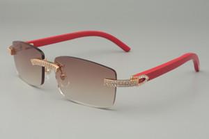 19 lujosas gafas de diamante blancas de doble hilera, madera natural a cuadros grabada a mano / gafas de sol de varios colores 352412-B, tamaño: 56-18-135mm