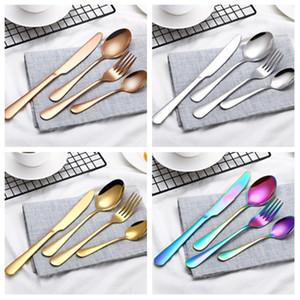 1 Unidades/4 piezas tenedor y cuchara chapado en oro de acero inoxidable cubiertos tenedor color creativo vajilla conjunto de cubiertos de estilo occidental serie T2I5031