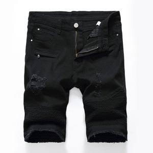Mens Denim Shorts Summer New Arrival Fashion Casual Beach Denim Shorts Skinny Distressed White Hole Male Pants