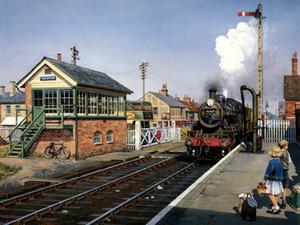 Décoration de la maison moderne Art mur ww2 guerre Rétro Vintage Train Peinture à l'huile Image imprimée sur toile Cadeaux Salon Chambre Photos FJ160