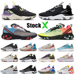 Nike React Vision React Element 55 Undercover 87 2020 Top Chaussures Element 55 UNDERCOVER 87 Chaussures de course Hommes Femmes Noir Iridescent Gravity Violet Baskets Baskets