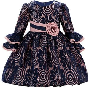Robe à manches longues pour nourrissons bébé dentelle fleur Baptême Robes pour filles première année fête d'anniversaire de mariage Vêtements de bébé S200107