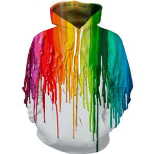 YX GIRL Gota de transporte Moda 3D Homens hoodies Pintura Gotejoulas Impresso Hoodie Unisex streetwear Casuais Com Capuz Treino TZ0478