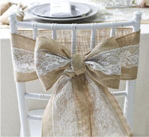 Hochzeit Stuhl zurück Schärpen Spitze Burlap-Stuhl-Schärpe Streamer Bow Ties Schmetterlings-Stuhl-Abdeckung Decro für Bankett-Dekor