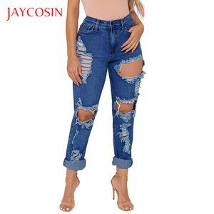 Jaycosin Cep Delik Stretch Yüksek Elastik Kalem Pantolon Yukarı Yüksek Bel kot itin Yırtık kadınlar için kot yırtık mujer 2019 87