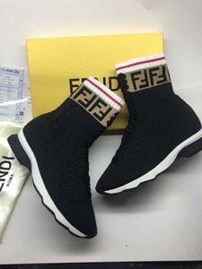2020 INS HOT Branded femmes stretch Tissu haute multicouleur hauts en cours Sock Sneaker Lady Mania Appliqué Semelle en caoutchouc Chaussures Casual 35-45 1002