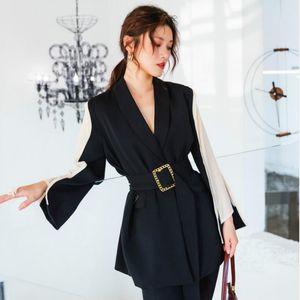Женские костюмы Blazers Мода контрастный цвет пояса Blazer куртка женщин повседневные карманы с длинным рукавом рабочая костюм пальто офисная леди твердая SLIM 202