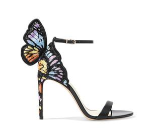 Vendita calda-print ala ricamo farfalla sandali designer del marchio Sophia Webster promenade delle signore scarpe da festa