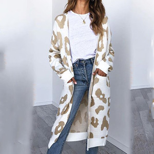 Foridol stampa del leopardo cardigan a maglia donne streetwear casuale maglieria lungo cardigan di Natale