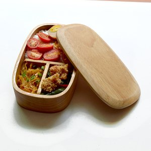 Natural Wood Lunch Boxes Eco-friendly Wooden Bento Box Portable Wooden Bowl Food Container
