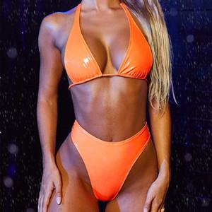 2020 Sexy Black High Leg Bandeau Bikinis eingestellt Halter Swimwear weiblich Zwei Stücke Badeanzug-Frauen-Badeanzug Biquini