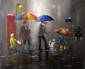 Pintura a óleo abstrata CITYSCAPE FIGURA pintados à mão Art Oil Painting On Canvas Home Decor Wall Art Imagem