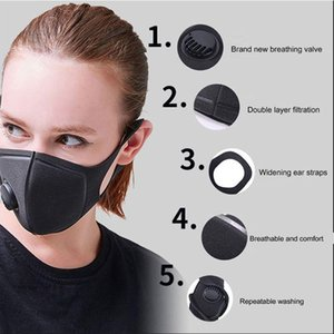 black Stock Coslony Unisex Sponge Dustproof PM2.5 Pollution Half Face Mouth Mask with Breath Wide Straps Washable Reusable Muffle ICE SILK