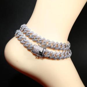 12 mm de ancho cubano joyería del pie cadena de pulsera de tobillo para las mujeres de plata cubana cadena de acoplamiento de la CZ pulsera tobillera para los estilos de joyería de playa