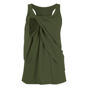 ARLONEET Women Maternity Mom Pregnant breast-feeding sleeveless vest Nursing Baby Vest solid Tops Blouse Clothes J0605