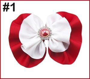 envío 10pcs 5-5.5 '' pelo arcos redondos diamantes de imitación niña de pelo arquea zapatos de moda los accesorios grandes lazos pelo de la perla