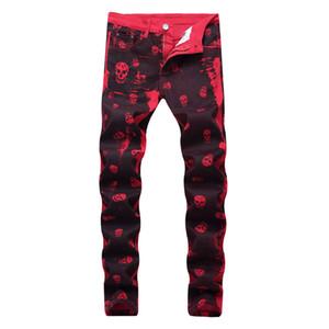 Los hombres pantalones casuales Red dril de algodón de la cremallera Imprimir vaqueros de la manera hombres del diseñador pantalones largos de la motocicleta del motorista los pantalones vaqueros que se lavan