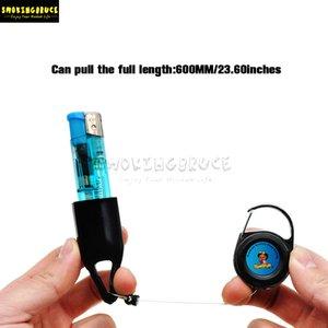 Vente en gros Prix le plus bas en cuir Lighter Leash Safe Stash clip rétractable Keychain Porte Briquet verre d'eau Bongs Pipes Smoking Dab Rig