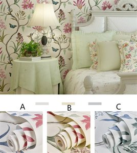 10Mx 53cm Chinoiserie wallpaper Bedroom Wall Covering modern Vintage Pink Floral Wallpaper Blue Tropical Butterfly Birds Flower Wall Paper