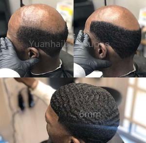 Afro Curl 360 Wave Full Pu Toupee Hombres Peluca de pelo Lacio completo Troupee Hombres Postales China Remy Reemplazo de cabello humano para hombres negros