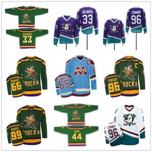 Film Jersey Individuelle Mighty Ducks Bombay Waves 66 Gordon Bombay 33 Goldberg 96 Conway 99 Banks Hockey Trikots Blau Grün genähten Customized
