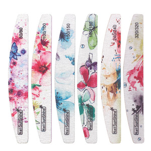 Nueva Lima de uñas Flor estampada Bloque de tampón de uñas 80/100/150/180/240/320 Kit de manicura de uñas de lima lavable