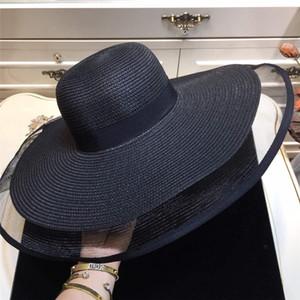 chapéu Super viseira grande brim moda europeus e americanos de chapéu única palha para fora oco boné emenda estilo celebridade brim