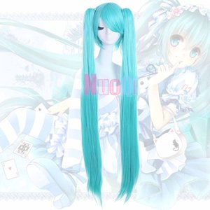USA Ship VOCALOID HATSUNE MIKU Straight Blue 2 Ponytails Clip In On Cosplay Wig