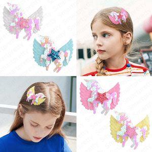 Clips de pelo del arco de las alas de las niñas de dibujos animados Bobby Pin Pin de pelo de los niños de la lentejuela del brillo Barrette Pentagram Accesorios tocado pelo 4 colores E4908