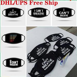 В наличии! UPS Бесплатной доставка Я не может дышать Письмо печати Маска дизайнерской маски для лица Черной жизни важна Дизайнер Маски пыла ветрозащитного