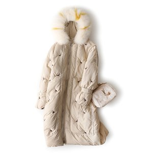 Rlyaeiz Women Winter Coat 2019 Fashion Embroidery Colorful Fur Collor Hooded Jackets Women Parka Cotton Thick Warm Long Overcoat