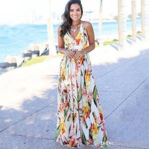 Flora gedruckt Kleider Sommer Spaghetti-Bügel-Sleeveless Frauen Strand-Kleider Sexy Laides Maxi-Kleid mit V-Ausschnitt Backless
