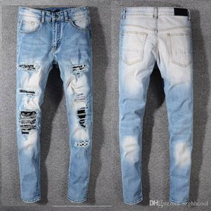 남성 디자이너 바지 웨스트 바지 Ankle-Zip Biker 슬림 스키니 코튼 망 청바지 스포츠 조깅 바지 Mens Designer Jeans