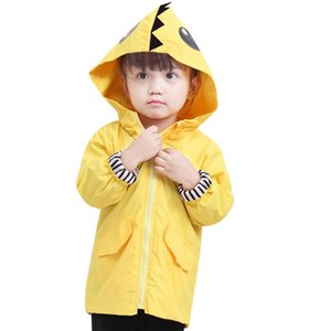 2019 Toddler Raincoat Kids Baby Boy Girl Cartoon Dinosaurio con capucha Zipper Ropa Abrigo niño grande abrigos y chaquetas niña