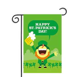 Садовые флаги для Дня Святого Патрика 30x45CM висит полиэстер праздник декор баннер флаги зеленая шляпа трилистник пиво Золотая Монета Festivel флаг
