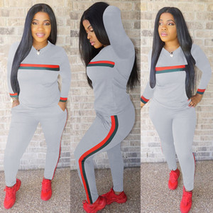 New Frauen Tracsuits Langarm Sport Anzug Tages Tops und Hosen Lady Striped Druck Herbst-Winter-Overall 2 Stück Outfits Sport Sweatsuit