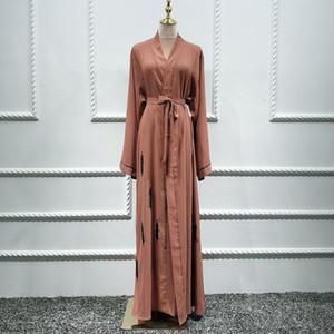 Siskakia Handmade frisada islâmica Kimono Abaya Vestido Ramadan Eid 2020 Moda Dubai Turquia Mubarak Marrocos Cardigan Abaya Brown