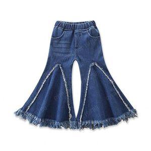 Baby Girls Flare Jeans Kids Splice Tassel Denim Pants Kids Designer Clothes Girls Elastic Pocket Pants Casual Trousers 1-6T