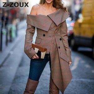 Z-ZOUX mujeres chaqueta de la chaqueta sin tirantes atractivo de la tela escocesa de las señoras de la capa del juego irregular de las mujeres Blazer Chaquetas Asimetría Mujer Escudo autumn1