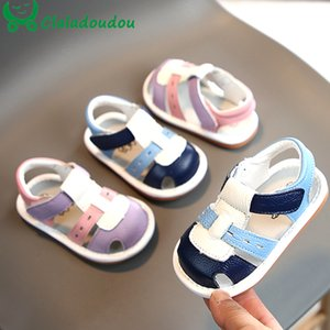 11.5-15cm Infant Girls Boys Sandals Genuine Leather Soft Closed Toe Summer Shoes For Baby Strap First Walker Toddler Flats Shoe T200703