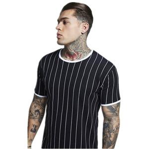 PYHAILLP New tshirt Uomo T shirt a righe stampate Cuciture moda O-Collo manica corta Slim Fit Nero army green t shirt uomo