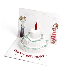 DIY Craft Postcard Up Funny Modern Style Cute Candle Cake Birthday Card Greeting Color Printing 3D Handmade With Envelope